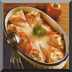 Šunkové kornouty zapečené se sýrem