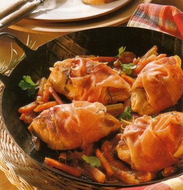 Řezy z kuřecího masa v šunkovém závitku