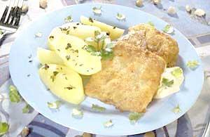 0445 - Smažené rybí filé s brambory